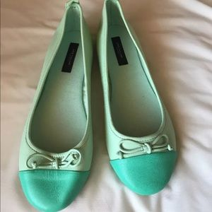 NEW Ann Taylor Cute Mint Flats Bow Leather 8M